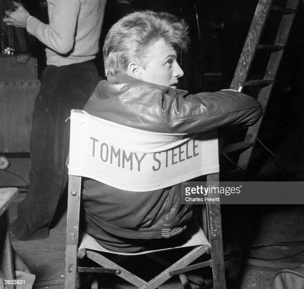 English actor singer and director Tommy Steele on set during the filming of his life story 'The Tommy Steele Story' Original Publication Picture Post...