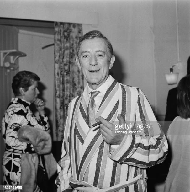 English actor Sir Alec Guinness wearing a dressing gown, London, UK, 15th May 1973. He is starring as Arthur Wicksteed in the play 'Habeas Corpus' by...