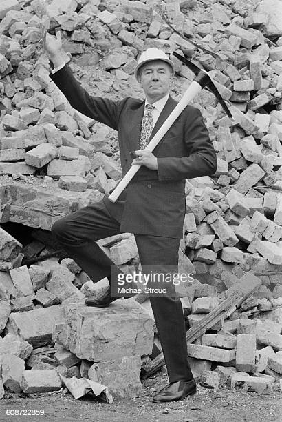 English actor Sir Michael Redgrave inaugurates the construction of the Redgrave Theatre in Farnham Surrey UK 24th September 1971