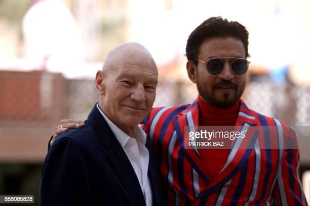 English actor Sir Patrick Stewart and Indian actor Sahabzade Irfan Ali Khan known as Irrfan Khan pose during a photo call at the Dubai International...