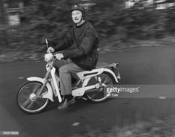 English actor Stephen Lewis commuting on his new Honda moped London October 1975