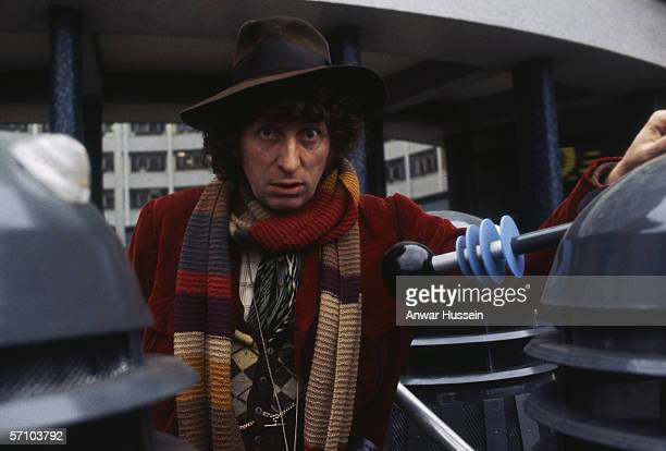 English actor Tom Baker in his role as the fourth incarnation of Doctor Who in the British science fiction television series of the same name circa...