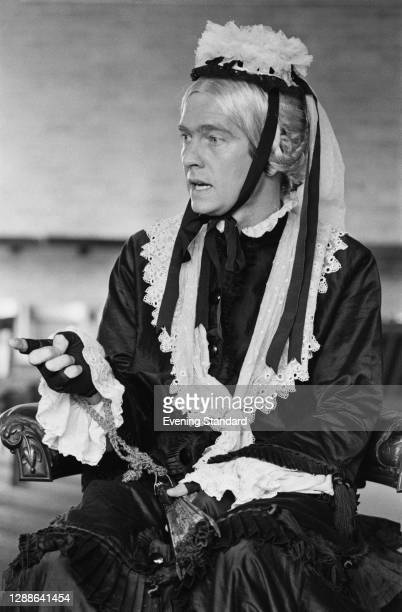 English actor Tom Courtenay as the title character in the farce 'Charley's Aunt' at the Apollo Theatre in London, UK, August 1971.