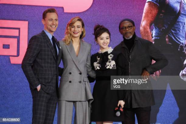English actor Tom Hiddleston American actress Brie Larson actress Jing Tian American actor Samuel Leroy Jackson attend the press conference of film...