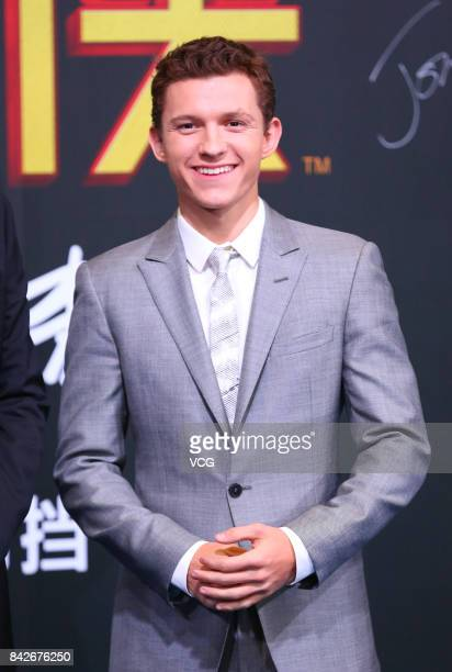 English actor Tom Holland attends the premiere of film SpiderMan Homecoming on September 4 2017 in Beijing China