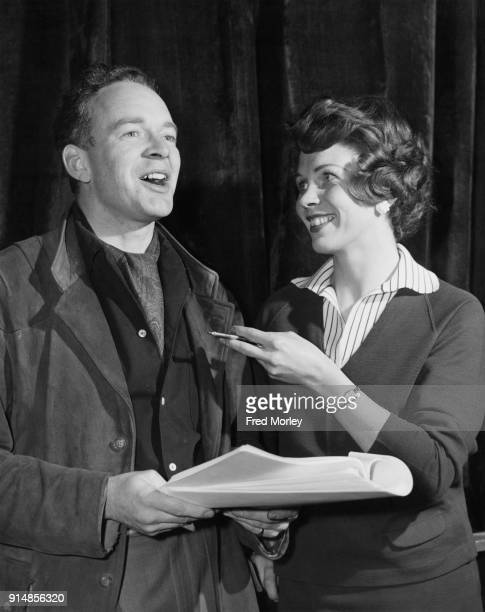 English actor Tony Britton with actress Sarah Lawson during rehearsals for the BBC television play 'You Are There The Ordeal of Christabel Pankhurst'...
