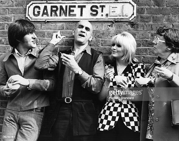 English actor Warren Mitchell with Adrienne Posta and Dandy Nichols in Garnet Street in East London Original Publication People Disc HN0235