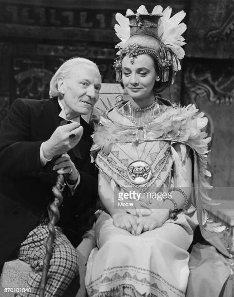 English actor William Hartnell , who plays the Doctor in television's 'Doctor Who', with co-star Jacqueline Hill , who is dressed as an Aztec for one...