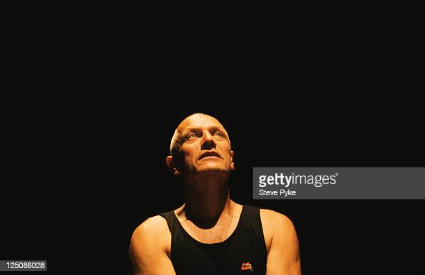 English actor writer and director Steven Berkoff on stage circa 1995