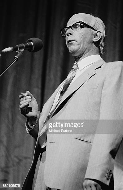 English actor writer and satirist John Wells performing as Denis Thatcher in 'The Secret Policeman's Other Ball' at the Drury Lane theatre London 9th...