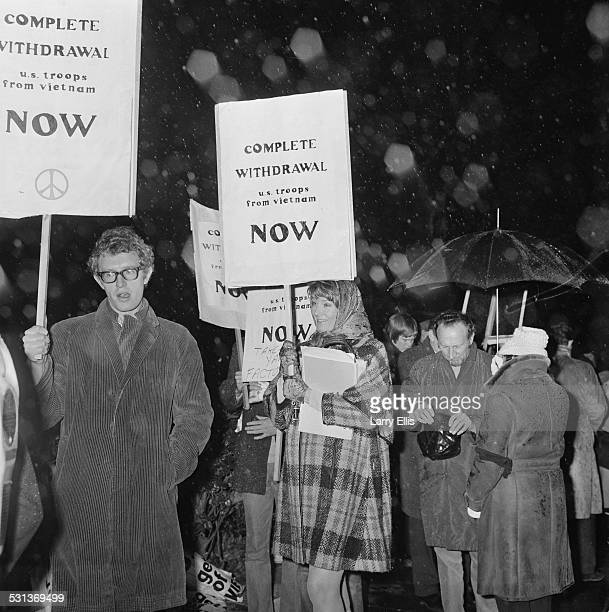 English actors and activists Vanessa and Corin Redgrave carry placards at an antiVietnam War demonstration 15th November 1969