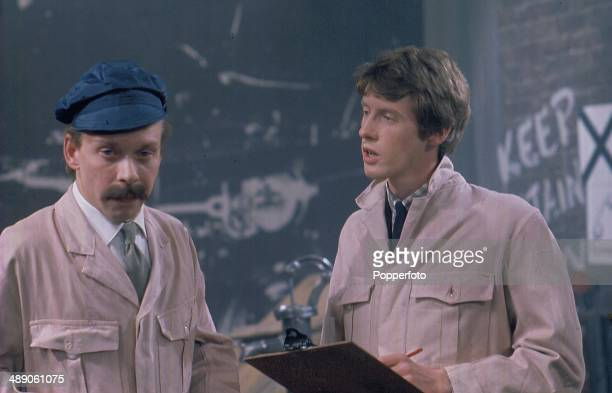 English actors Brian Murphy and Michael Crawford perform together on the television series 'World of Comedy - Innocent but Insane' in 1968.