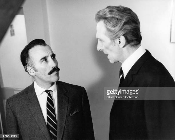 English actors Christopher Lee as Fremont and Peter Cushing as Major Heinrich Benedek in 'Scream And Scream Again' directed by Gordon Hessler 1970