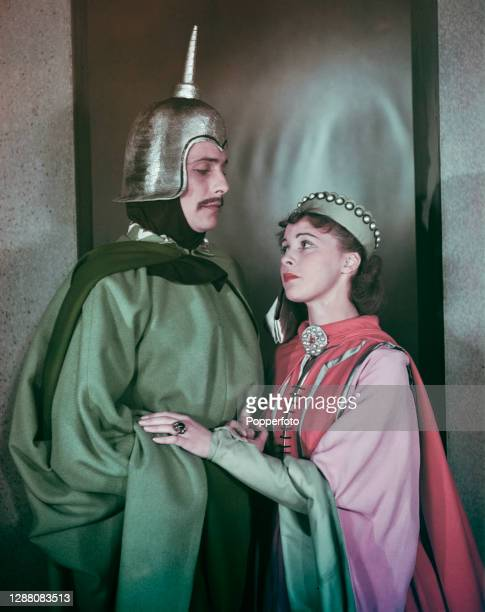 English actors Claire Bloom and John Justin dressed in character as Blanche of Castile and Louis the Dauphin for a production of the William...