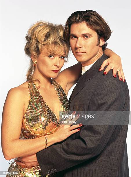 English actors Claire King and Ian Kelsey circa 1995 They played the characters of Kim Tate and Dave Glover in the TV soap opera 'Emmerdale'