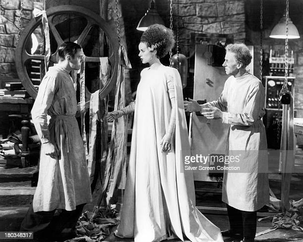 English actors Colin Clive as Henry Frankenstein Elsa Lanchester as The Monster's Bride and Ernest Thesiger as Doctor Pretorius in 'Bride of...