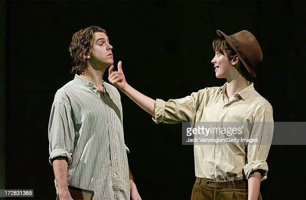 English actors Dan Stevens and Rebecca Hall perform in the final dress rehearsal of the Theatre Royal Bath's production of 'As You Like It' at the...
