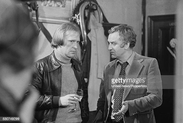 English actors Dennis Waterman and John Thaw on right pictured together in character as George Carter and Jack Regan during production of the spinoff...
