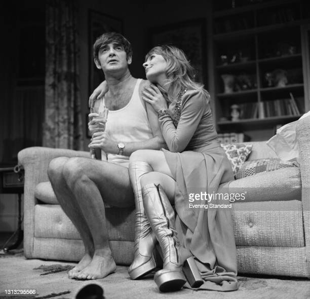 English actors Derek Nimmo and Katy Manning in a scene from the play 'Why Not Stay For Breakfast?' by Gene Stone and Ray Cooney at the Apollo Theatre...
