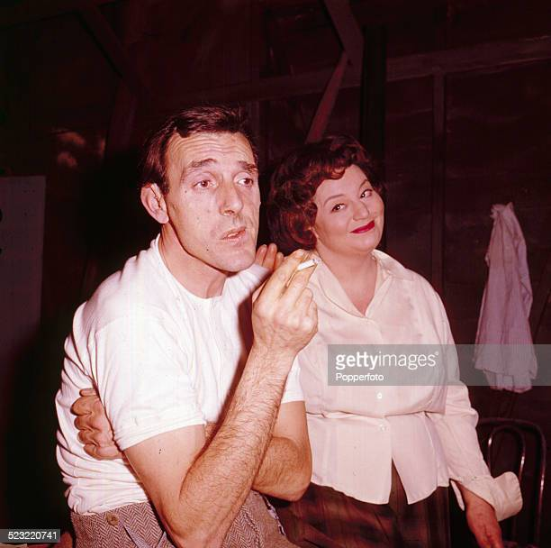 English actors Eric Sykes and Hattie Jacques pictured together during rehearsals for their television show in 1964