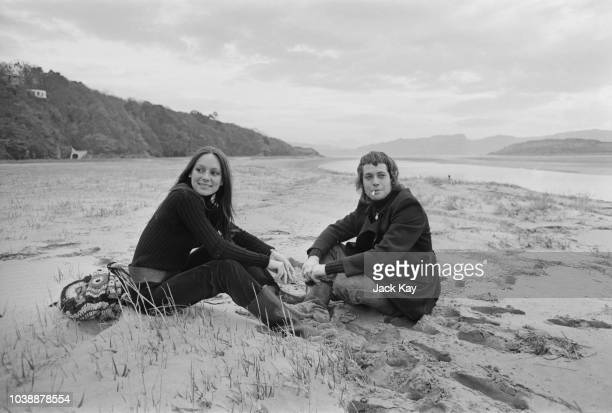 English actors Francesca Annis and Jon Finch on a beach in North Wales location of the movie 'Macbeth' UK 27th November 1970