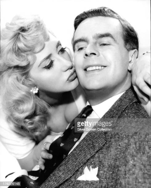 English actors Ian Carmichael and Liz Frazer in a promotional portrait for 'I'm All Right Jack' directed by John Boulting 1959