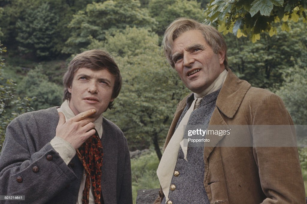 English actors James Bolam (left) and Michael Goodliffe (1914-1976) pictured on location during filming of the television drama series 'The Inheritance' in 1968.