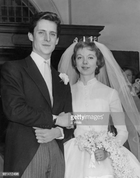 English actors Jeremy Brett and Anna Massey after their wedding at St Michael's Church Highgate Village London 24th May 1958