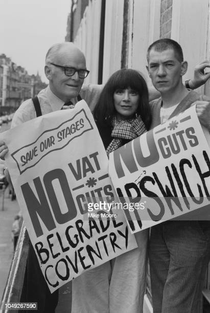 English actors John Barron Fenella Fielding and Ian McKellen holding placards used in the march through London's West End on 24th July protesting...