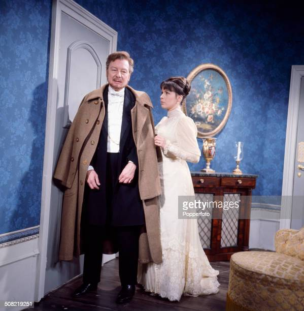 English actors John Gielgud and Claire Bloom pictured together wearing period costume in a scene from the television drama series 'Play Of The Week...