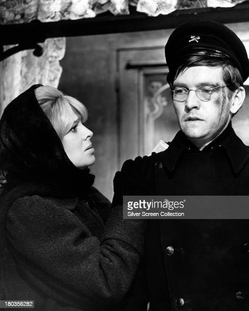 English actors Julie Christie as Lara Antipova and Tom Courtenay as Pasha Antipov in 'Doctor Zhivago' directed by David Lean 1965