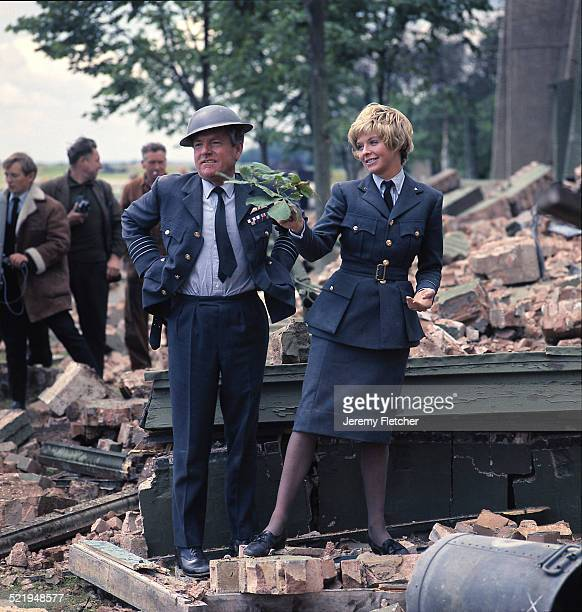 English actors Kenneth More and Susannah York at Duxford Aerodrome in Cambridgeshire during the filming of 'Battle Of Britain' 1969