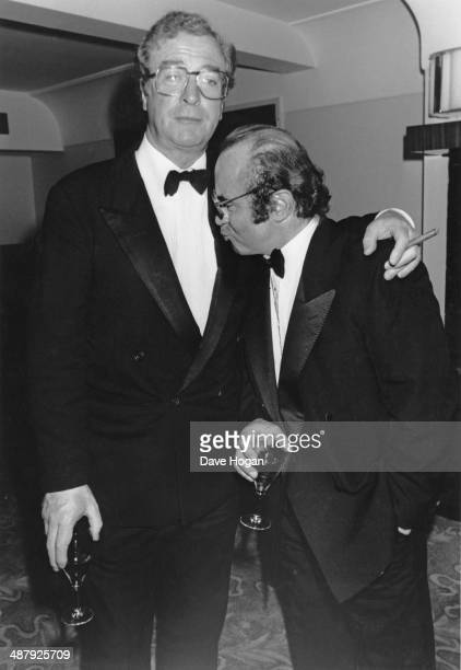 English actors Michael Caine and Bob Hoskins at a gala performance of 'The Merchant of Venice' London UK 14th September 1989