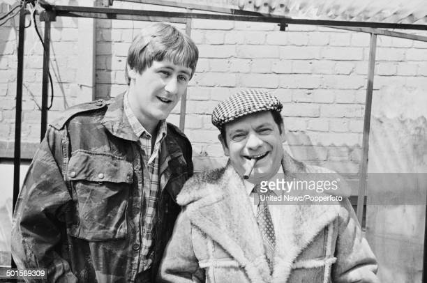 English actors Nicholas Lyndhurst and David Jason in character as Rodney Trotter and Derek 'Del Boy' Trotter from the British television sitcom 'Only...