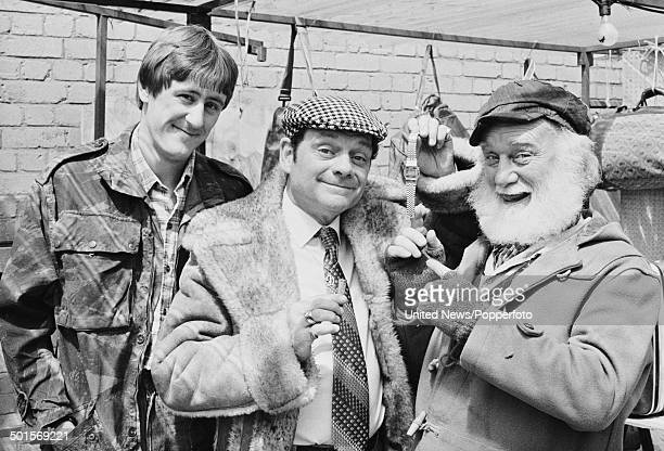 English actors Nicholas Lyndhurst David Jason and Buster Merryfield in character as Rodney Trotter Derek 'Del Boy' Trotter and Uncle Albert from the...
