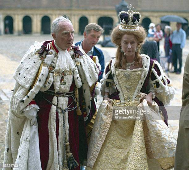 English actors Nigel Hawthorne and Helen Mirren portray the afflicted monarch George III and his wife Queen Charlotte in Nicholas Hytner's film 'The...