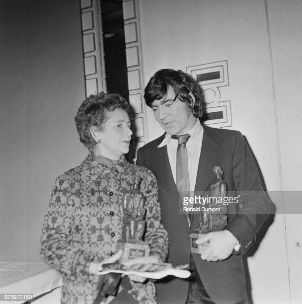 English actors Peggy Ashcroft and Alan Bates pictured with their Best Actress and Best Actor awards at the 1971 Evening Standard Theatre Awards in...