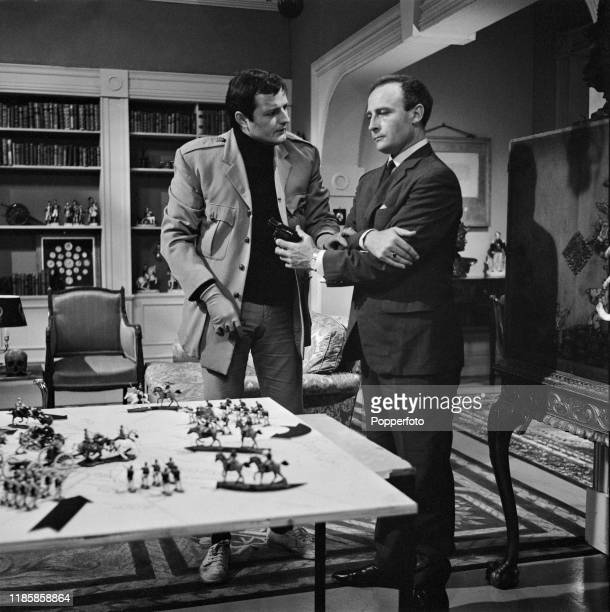 English actors Peter Bowles and Edward Woodward play the roles of Toby Meres and David Callan in a scene from the ABC Weekend Television drama series...