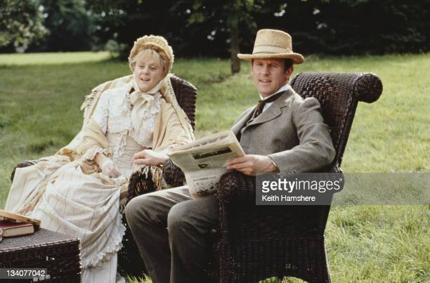 English actors Peter Davison and Rosalind Ayres as Squire Gordon and Mistress Gordon in the film 'Black Beauty' 1994