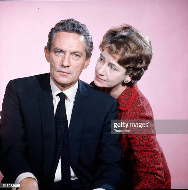English actors Peter Finch and Peggy Ashcroft posed together in 1965