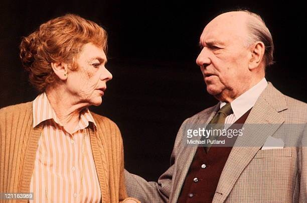 English actors Ralph Richardson and Celia Johnson performing on stage in Angela Huth's play 'The Understanding' UK 1982 Photo by Michael...
