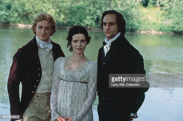 English actors Raymond Coulthard, Kate Beckinsale, and Mark Strong during production of the TV film adaptation of Jane Austen's 'Emma', circa 1996.