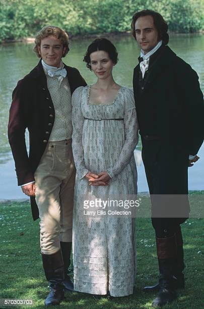 English actors Raymond Coulthard Kate Beckinsale and Mark Strong during production of the TV film adaptation of Jane Austen's 'Emma' circa 1996
