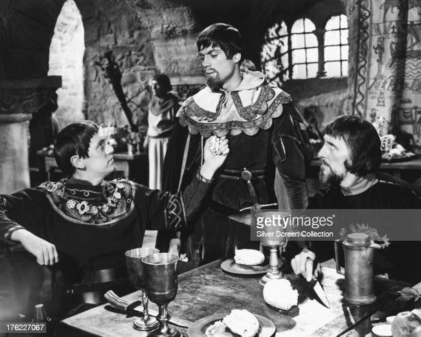 English actors Richard Pasco as Edward Earl of Newark Oliver Reed as Lord Melton and Peter Cushing as the Sheriff of Nottingham in 'Sword Of Sherwood...