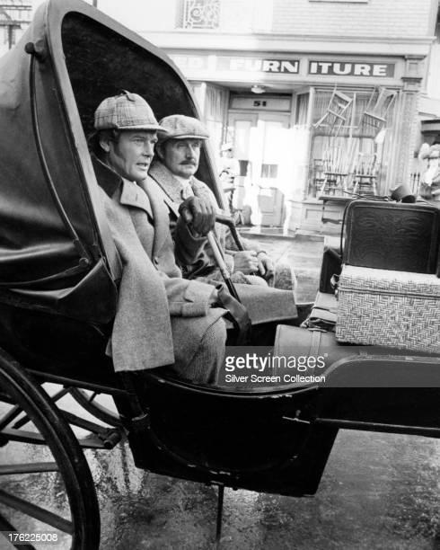 English actors Roger Moore , as Sherlock Holmes, and Patrick Macnee as Doctor Watson, in 'Sherlock Holmes In New York', directed by Boris Sagal, 1976.