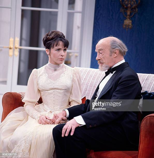 English actors Roland Culver and Claire Bloom pictured together wearing period costume in a scene from the television drama series 'Play Of The Week...