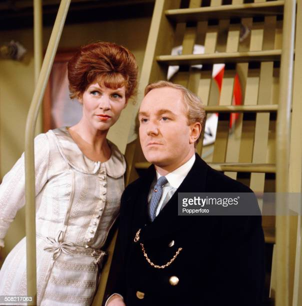 English actors Sarah Lawson and Robert Hardy pictured together in a scene from the television drama series 'Sunday Playhouse The Vanishing Trick' in...