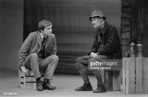 English actors Simon Rouse as Willy Carson and Alan Webb as Evens in a scene from the Edward Bond play 'The Sea' at the Royal Court Theatre in...