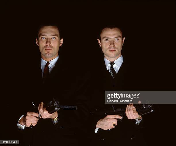 English actors singers and brothers Martin Kemp and Gary Kemp star in the film 'The Krays' 1990
