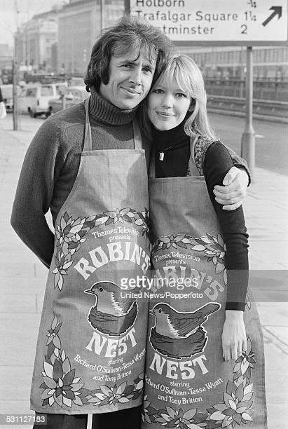 English actors Tessa Wyatt and Richard O'Sullivan, who play the characters of Vicky Nicholls and Robin Tripp in the television sitcom Robin's Nest,...